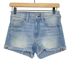 AE Hi-Rise Shortie Light Wash Cut Off Jean Shorts